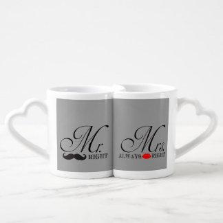 Funny Mr. and Mrs. Right Coffee Mug Set