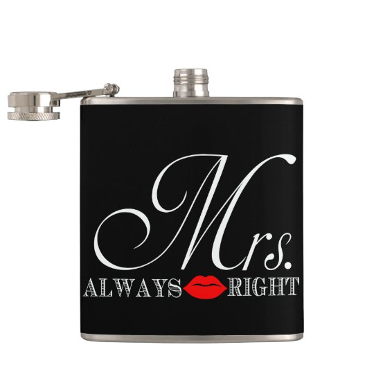 Funny Mrs. Always Right Hip Flask
