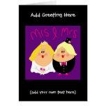 Funny Mrs and Mrs Lesbian wedding card - eggheads