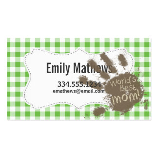 Funny Muddy hand print Green Checkered; Gingham Pack Of Standard Business Cards