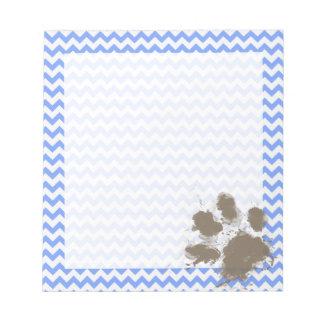 Funny Muddy Paw Print on Blue Chevron Notepad