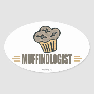 Funny Muffin Oval Sticker