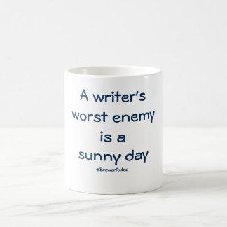Funny mug: A writer's worst enemy is a sunny day Basic White Mug