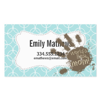 Funny Mum; Baby Blue Circles Pack Of Standard Business Cards