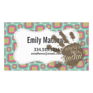 Funny Mum Gift; Pink and Mint Retro Pack Of Standard Business Cards