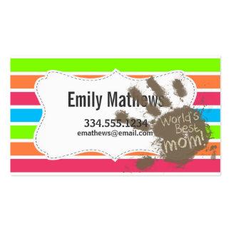 Funny Mum; Retro Neon Rainbow Pack Of Standard Business Cards