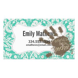 Funny Mum Seafoam Green Damask Pack Of Standard Business Cards