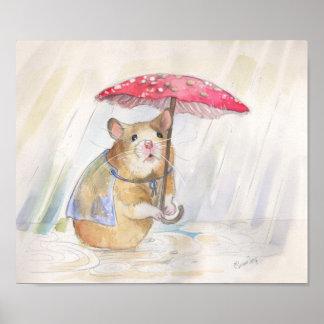 Funny Mushroom Rainy Day Hamster Poster