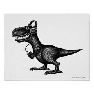 Funny music dinosaur pen ink drawing art poster
