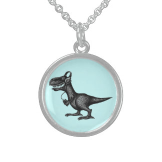 Funny music dinosaur pen ink drawing art round pendant necklace