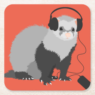 Funny Music Lover Ferret Square Paper Coaster