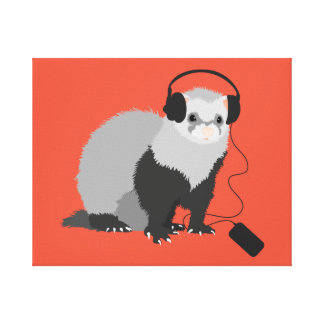 Funny Music Lover Ferret Stretched Canvas Print