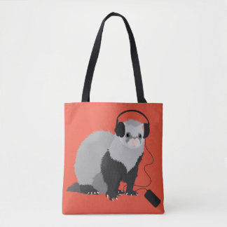 Funny Music Lover Ferret Tote Bag