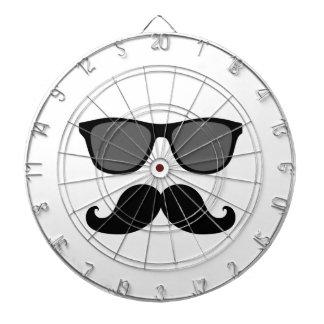Funny Mustache and Black Sunglasses Dartboard