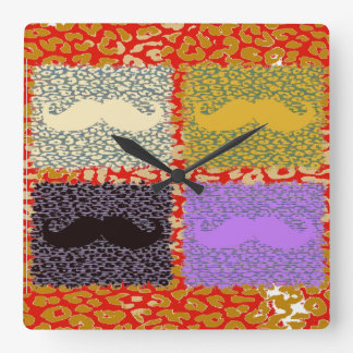Funny Mustache and leopard print Square Wall Clock