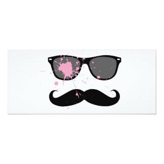 Funny Mustache and Sunglasses 10 Cm X 24 Cm Invitation Card
