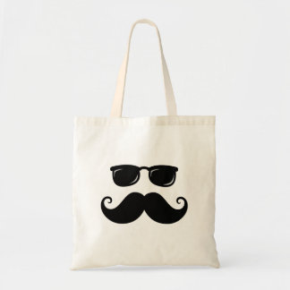 Funny mustache and sunglasses face tote bags