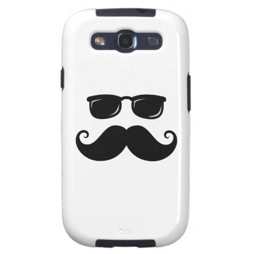 Funny mustache and sunglasses face samsung galaxy SIII cover