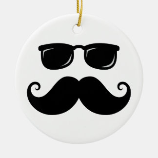 Funny mustache and sunglasses face christmas ornament