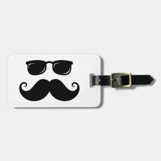 Funny mustache and sunglasses face luggage tag