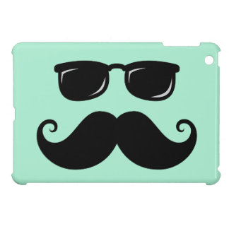 Funny mustache and sunglasses face mint green case for the iPad mini
