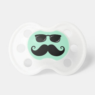 Funny mustache and sunglasses face mint green pacifier