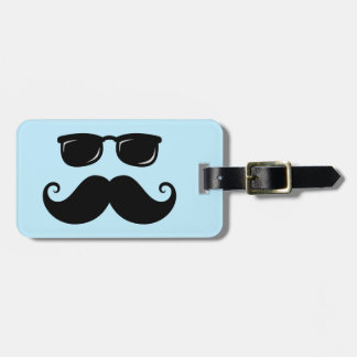 Funny mustache and sunglasses face on blue luggage tag