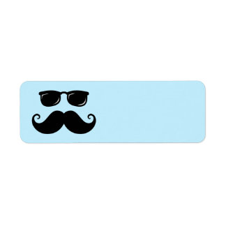 Funny mustache and sunglasses face on blue return address label