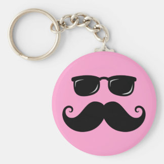 Funny mustache and sunglasses face on pink basic round button key ring