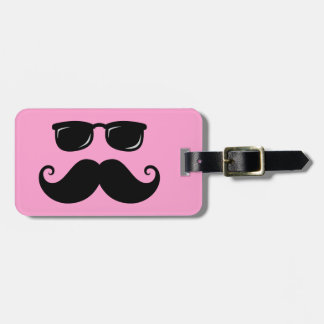 Funny mustache and sunglasses face on pink luggage tag