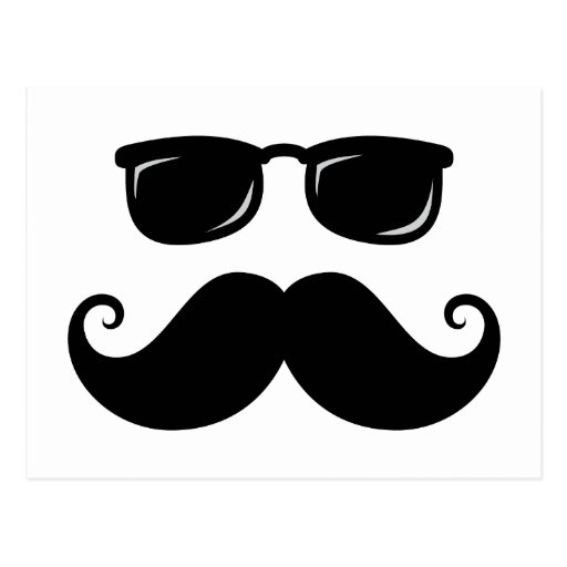 Funny mustache and sunglasses face post cards