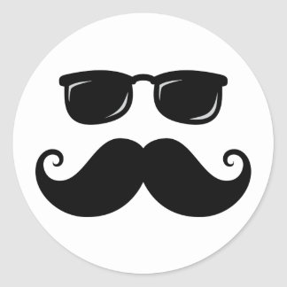 Funny mustache and sunglasses face round sticker