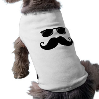 Funny mustache and sunglasses face sleeveless dog shirt
