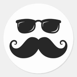 Funny mustache and sunglasses face sticker