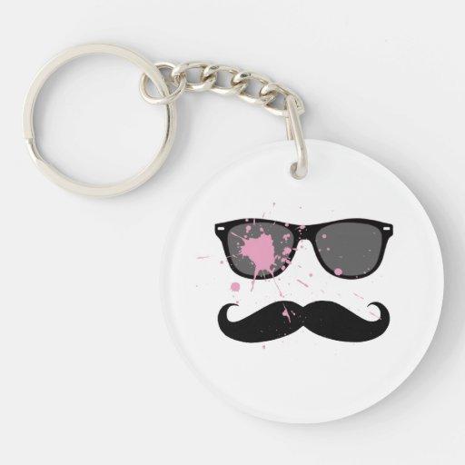 Funny Mustache and Sunglasses Key Chain