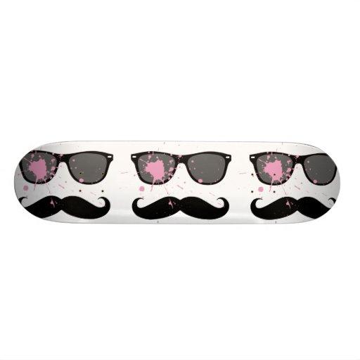 Funny Mustache and Sunglasses Skate Board