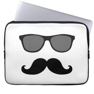 Funny Mustache, Black Sunglasses Laptop Sleeve