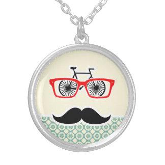 Funny Mustache Blue-Green Cream Custom Jewelry