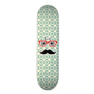Funny Mustache; Blue-Green & Cream Skate Board Deck