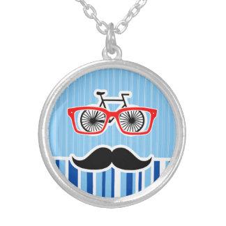 Funny Mustache Blue White Stripes Pendant