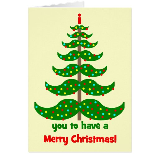 funny mustache Christmas Greeting Cards