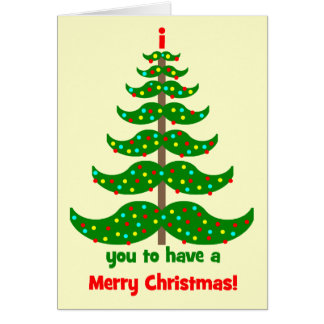 funny mustache Christmas Greeting Card