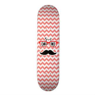 Funny Mustache; Coral Chevron 18.1 Cm Old School Skateboard Deck