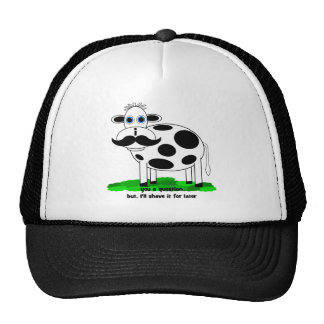 funny mustache cow mesh hat