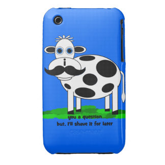 funny mustache cow iPhone 3 case