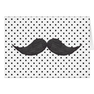 Funny Mustache Drawing And Black Polka Dots Card