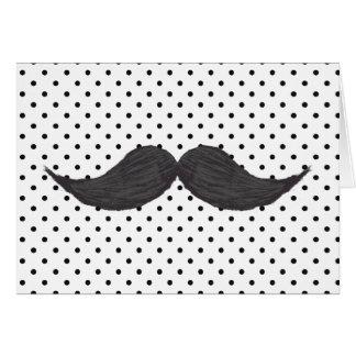 Funny Mustache Drawing And Black Polka Dots Greeting Card