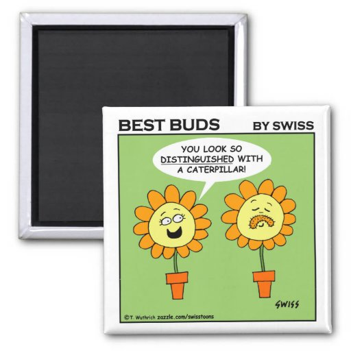Funny Mustache Flower Cartoon Fridge Magnet