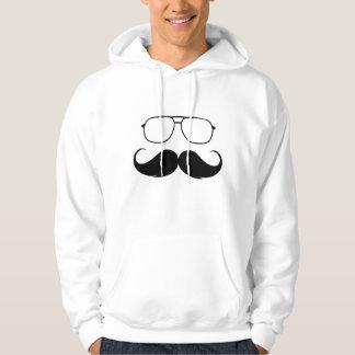 funny mustache glasses in black hoodie