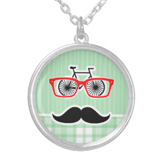 Funny Mustache Green Plaid Custom Necklace